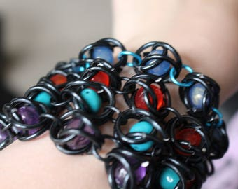 Caged bead black chainmail bracelets