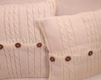 6 covers pillow 40 X 40, wool, Brown, ecru, Navy Blue, red, handmade, wool knit