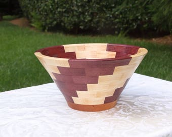 Large Segmented Wood Bowl, Maple, Purpleheart and Cherry, handturned, handcrafted
