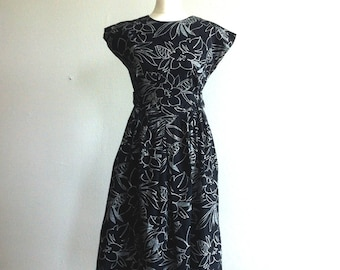 SOLD 1990 black cotton summer dress with floral line print