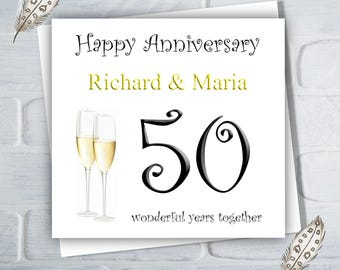 Personalised 50th Golden Wedding Anniversary Card, 50th Anniversary, Greeting Card, Free UK Shipping