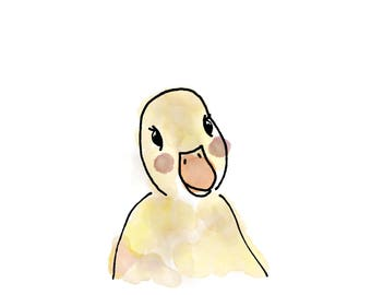 Duckling Watercolor Print