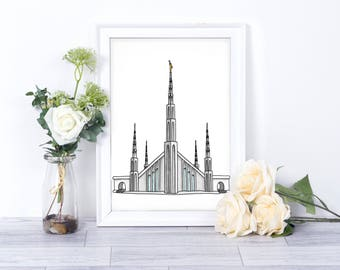 Manila, Philippines LDS Temple // Watercolor // Printable