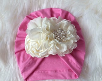 Turban with flower pink and ivory