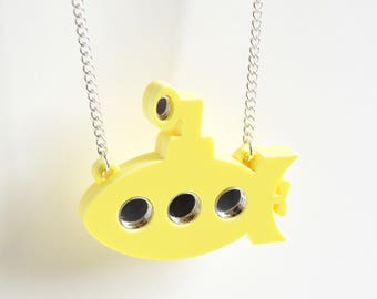 Yellow Submarine necklace,  acrylic necklace, laser cut necklace , statement necklace, gifts for her, lemon, quirky jewellery, fun necklace