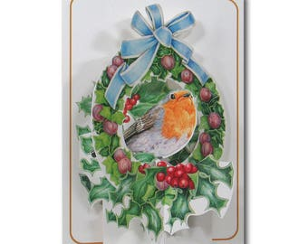 Christmas Robin In Wreath - Holly Berries - A 3D Pop Up Christmas Greeting Card