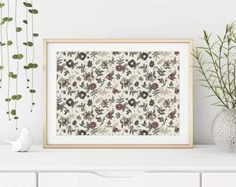 Countryside / Jane Austen / Floral Art / Flower Art / Guest Room Decor / Office Decor / Nursery Decor / Bedroom Decor / Vintage Art / Floral