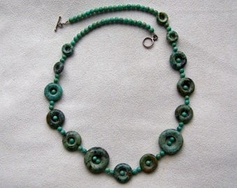 Genuine Turquoise Bead Necklace with Sterling Toggle Clasp