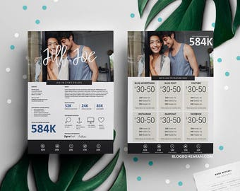Blogger Media Kit 2 Page – Magdalena Collection – Blogger Social Media Influencer Media Kit Press Kit Template Pitch Deck Rate Sheet Resume
