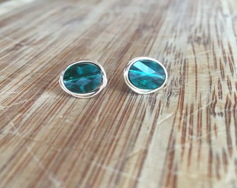Emerald Green Swarovski Crystal Stud Earrings Wrapped with 14 Karat Gold Filled Wire