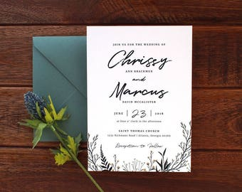 Boho Watercolor Wedding Invitation Set