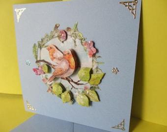 Card 3D (relief) Bird on a branch and butterflies