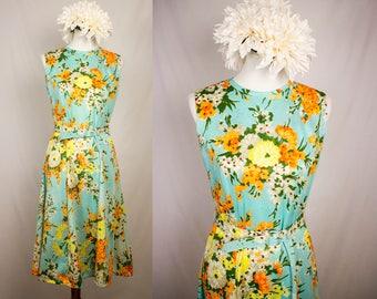 Vintage 1960s Floral Belted Fit and Flare Sundress - The Stroller