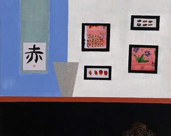 Collage: Japanese Modern Home - Original Abstract Art Painting