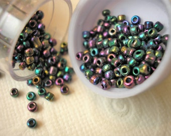 Iridescent Black Seed Beads, Perles Rocailles, 30 gms., One New Tube of Beads, A B Seed Beads, Beading, Needlework, Small Bead, Bead Weaving