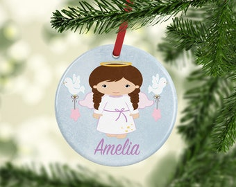 Personalized Ornament, Baby's First Christmas Ornament, Personalized Angel Ornament, Angel Ornament, First Christmas, Kids Xmas Ornament