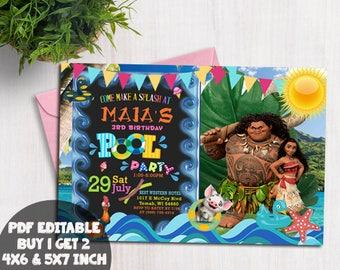 Moana Invitation , Disney Moana Invite , Moana Birthday Invitation, Disney Moana Birthday Party, Moana Birthday Invitation, pdf editable