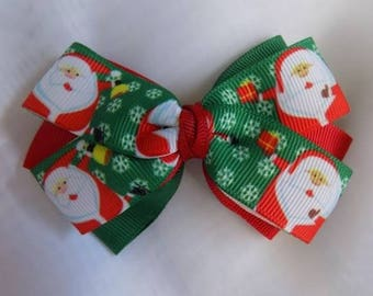Santa Claus hair bow- Girl's hair bow, Toddler hair bow, Hair clip gor girl, Hair accessories, Christmas hair bow