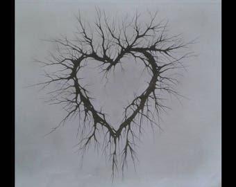 DECORATIVE HEART PRINT limited edition from original drawing by award winning artist kieran jackson