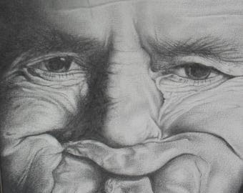 THE GURNER limited edition print of original hand drawn pencil portrait by award winning artist kieran jackson