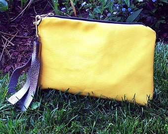 LARGE Leather Clutch Bag, Everyday Clutch, Leather Evening Bag, Evening Clutch, Yellow Bag, Jennis Experiment