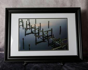 Framed Photograph: Pilings at Dawn