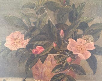 "Vintage Floral Still Life Painting / Orignal Signed "" Betty"" and Dated Art / 1965 Floral Still Life"
