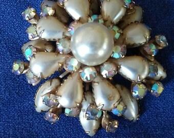 Pearl and rhinestone snowflake
