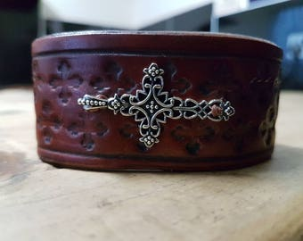 Handmade leather cuff bracelet with cross charm hand stamped