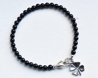 Black Pearl Bracelet, Black Bracelet, Four Leaf Clover Charm, Four Leaf Clover Charm Bracelet, Sterling Silver Four Leaf Clover Charm
