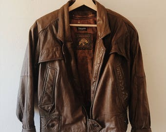 Brown leather jacket | Etsy