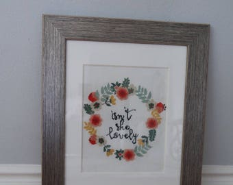Isn't She Lovely floral wreath cross stitch