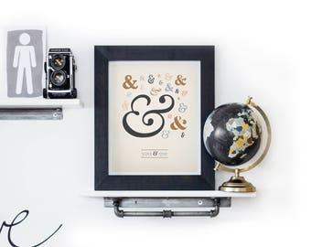 You & Me Print, Ampersand Print, Ampersand Postcard, Romantic Print, Typographic Print