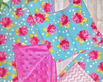 Minky Baby Blanket Gift Set/ Baby Girl Gift Set/ Watercolor Rose/ Baby Minky Blanket/ Burp Cloth/ Bib/ Baby Shower Gift Girl/ Baby Girl