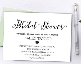 Bridal Shower Invitation, Printable Bridal Shower, Bridal Shower Card, Instant Digital Download File, Flower Bride DIY, Bridal Cards White 2