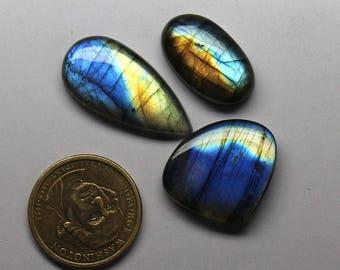 3 pcs 89.6 Cts.  AAA 100% Natural Blue Fire Labradorite Oval Pear Heart Cabochon Gemstone Jewelry making handmade Gemstone