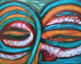 Origineel abstract olieverf schilderij op board, olie en acryl op paneel, mixed media, kunst aan de muur