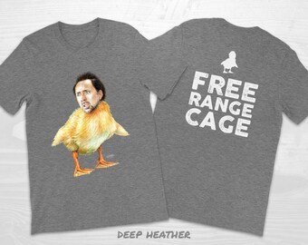 """Nicolas Cage Duckling + Free Range Cage T-Shirt - COLOR - from Original artwork """"Cageling"""" - funny, bird, duck, nic cage"""