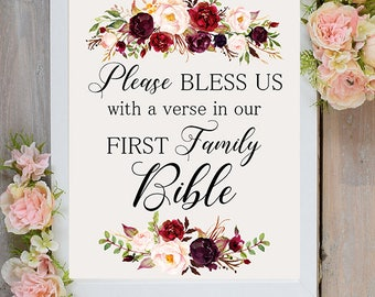 Bless us, First family Bible Wedding Sign Digital Floral Marsala Burgundy Wedding Boho Printable Bridal Decor Poster Sign 5x7, 8x10 WS-024