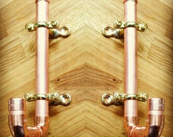 10x 6 inch copper hooks with brass fittings