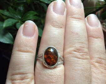 AMBER Sterlng Silver ring sz. 7