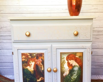 Pine cabinet,Pre-Raphaelite, painted furniture, Titian hair, Rossetti, Fusion Mineral Paint, painted pine, pine sideboard, pine cupboard
