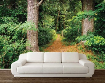 Wallpaper Trees, Nature Wallpaper, Forest Wall Decal, Trees Wall Mural, Forest Wallpaper