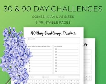 30 Day Challenge, 90 Day Challenge, planner inserts, meditation challenge, A4, A5, printable planner inserts, 30 day challenge tracker, goal