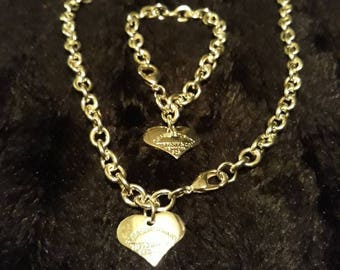 Pre-Owned 925 Necklace And Bracelet Set With Heart Shaped Pendants SEE NOTES