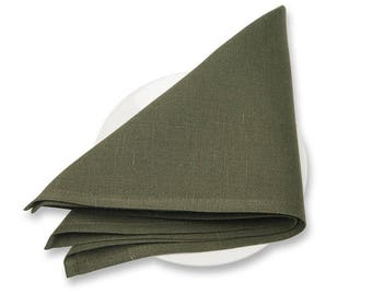 10pcs linen blend CLOTH NAPKINS - made in Europe - mossy GREEN - Various Sizes