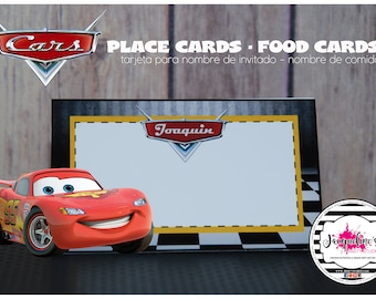 CARS place card - food card set of 6