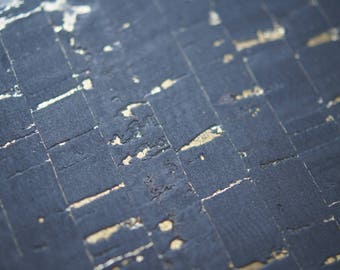 Natural Black Cork Fabric with Metallic Gold
