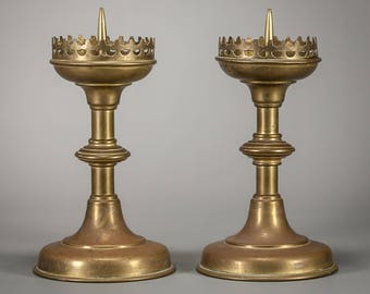 Charming Pair of Antique Gothic Candlestick Brass Candle Holders