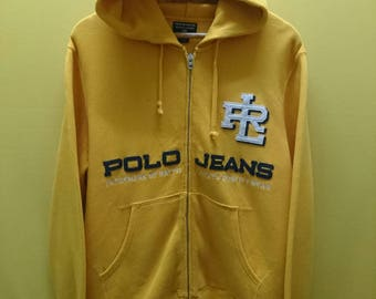 Vintage Polo Jeans by Ralph Lauren Zipper Hoodie Jacket Rare Yellow
